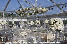 "Check out the hanging oval ""wreath"" of flowers above the head table. The tent was a clear top tent on the terrace of Congressional Country Club in Maryland."