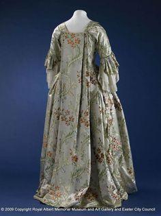 Reverse of open robe sack back gown, 1750-1760, England, silk, satin brocade, canvas. Royal Albert Memorial Museum & Art Gallery