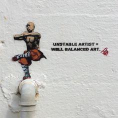 A piece U.K Street Artist JPS painted on the island of Utsira in Norway 'Unstable artist equals well balanced art #shaolin #monk #balance https://www.instagram.com/jps_artist | http://jpsstreetart.bigcartel.com