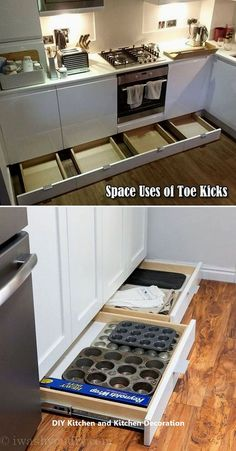 not let the space of toe kicks go wasted, it can be used to build drawers for baking supplies storage.Do not let the space of toe kicks go wasted, it can be used to build drawers for baking supplies storage. Diy Kitchen Storage, Diy Kitchen Cabinets, Kitchen Cabinet Design, Kitchen Redo, New Kitchen, Kitchen Tips, Kitchen Pegboard, Kitchen Drawers, Kitchen Counters