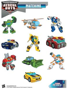 Be a hero and help our Transformers Rescue Bots find their vehicles! Playskool, Matching, Activity, Kids: