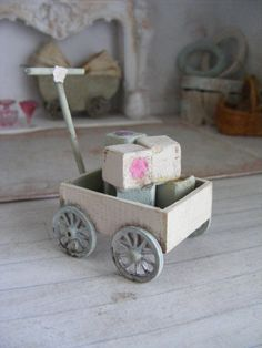 12th scale shabby chic pull along toy cart with wooden blocks