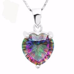 Rainbow Fire Mystic Topaz Heart Solid 925 Sterling Silver Pendant (Without Chain). Mystic topaz is quite a new gem type, first seen around 1998. It is natural colourless (white) topaz that has been coated, giving it a unique rainbow colour effect. Therefore, it is not a gem type, but is an enhanced clear topaz. The coating technology, known as thin film deposition, was pioneered by a company called Azotic Coating Inc. Mystic topaz may be so-called because its attractive changing colours…