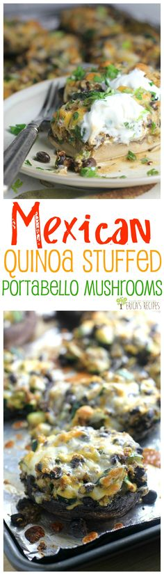 Mexican Quinoa Stuffed Portobello Mushrooms from EricasRecipes.com
