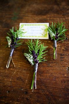 lavender & rosemary for the boutineer....Sam...purple and green for the boys