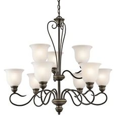 Kichler Tanglewood Olde Bronze Transitional Etched Glass Chandelier at Lowe's. This 9 light LED chandelier from the Tanglewood collection is the very definition of classic style. Featuring soft, curving lines, frosted, simple shades Bronze Chandelier, Chandelier Shades, Chandelier Lighting, Glass Chandelier, Lantern Pendant, Light In, Light Shades, Transitional Chandeliers, Classic Lighting