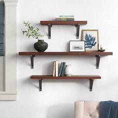 Office Wall Shelves, Shelves Above Desk, Dark Wood Shelves, Living Room Shelves, Large Shelves, Wood Floating Shelves, Wall Bookshelves, Dining Room Walls, Shelf Ideas For Living Room