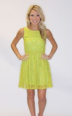 Riffraff | laced spring dress - chartreuse