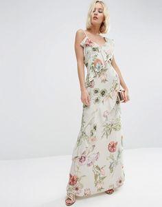 ASOS | Vestido largo suave de tirantes con volantes y estampado botánico de ASOS