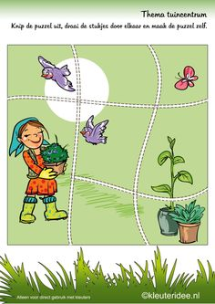 Puzzel tuin 2, thema tuincentrum, kleuteridee , Preschool puzzle, garden theme, free printable.