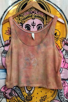 Sz Medium Rhinestone Om Tie Dye Flowy Crop Muscle Tank Top