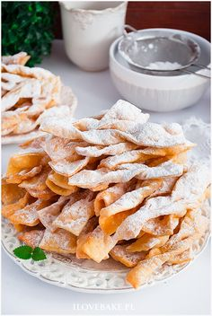 Faworki Ćwierczakiewiczowej - I Love Bake Polish Recipes, Polish Food, Donuts, Cereal, Breakfast, Beignets, Corn Flakes, Breakfast Cereal