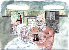 """""""Dino , vecchio barbiere di Ostia,racconta a tutti con malcelato affetto di quando tagliò i capelli ad Andreotti. Nostalgia canaglia""""."""