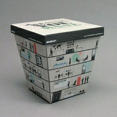 """The Takeaway Box: campaign at The Bertie Agency for a London-based office refurbishment company - the takeaway box. With the company offering they """"deliver the office you want"""", a direct mail piece was created in the form of a typical Chinese takeaway box. The exterior of the box depicted a stylised office block with humorous and quirky scenes throughout. Once the lid was removed, the company's offerings were revealed."""
