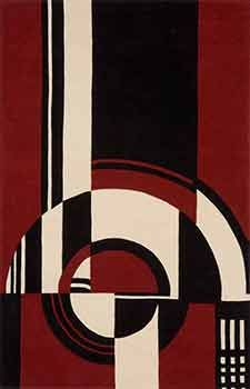 Perfect Fabulous Art Deco Rug    Vivid Red With Black And Ivory.