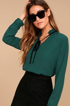 Snag all the newest trends in women's dressy tops and blouses at Lulus! It's easy to stay ahead of the curve with dressy shirts for juniors and women from Lulus Modest Fashion, Fashion Outfits, Womens Fashion, Fashion Trends, Blue Long Sleeve Tops, Tie Neck Blouse, Teal Blue, Blouses For Women, Cuff Sleeves