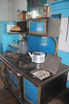 Old fashioned wood burner stove.