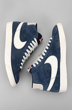 Blue suede nike wedges