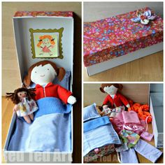 "DIY Doll in a Box Gift Set - I am sooo excited about our dolly in a box. She has a little bed, interchangeable artwork and a ""hidden"" compartment to store clothes and accessories."