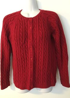 LL Bean Red Cable Knit Cardigan size M Womens Classic Cotton Sweater Long Sleeve #LLBean #Cardigan