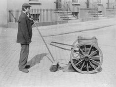 Street Sweepers - Usually a job for teenage boys, they would literally sweep the streets and sidewalks. They were also required to pick up trash and other debris. They commonly performed their jobs during the late hours of the night or very early in the morning, before pedestrians were out and about.