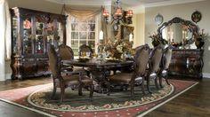 AICO Essex Manor Dining Table Set In Deep English Tea