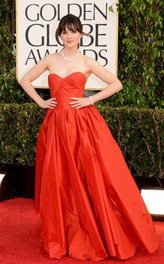 Golden Globe Awards 2013 | Zooey Deschanel in Oscar de la Renta