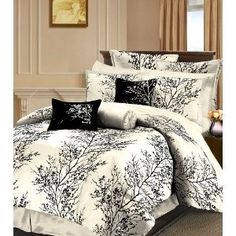 Black and white bedding.not all those pillows and fancy stuff but the comforter is cool Dream Bedroom, Master Bedroom, Bedroom Decor, Bedroom Ideas, Black Tree, Bed In A Bag, White Bedding, Bed Spreads, Sheet Sets