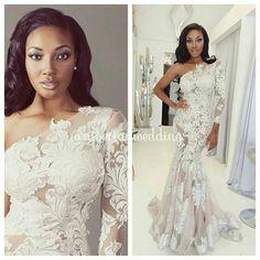 Black Bride African American Wedding Makeup long  sleeve Dress
