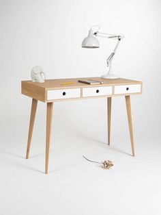 Home Office Desk Small Dressing Table Bureau With White Drawers Oak Wood Mid Century Modern Customized Size And Finish Stol V Stile Retro Ofisnyj Stol I Rabochie Stoly
