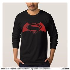 Batman v Superman Red Distressed Logo T-shirt