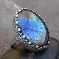 Labradorite Ring Sterling Silver with Fancy Bezel US by lsueszabo, $150.00