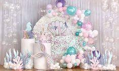 Mermaid Birthday Party Decorations Diy, Mermaid Birthday Cakes, Girl Baby Shower Decorations, Baby 1st Birthday, Diy Party Decorations, Birthday Party Themes, Balloon Arch Diy, Mermaid Baby Showers, Little Mermaid Parties