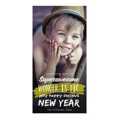 Super Awesome Wonderistic New Year Holiday Card Photo Card