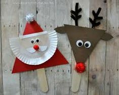 Christmas / Activities / Santa and reindeer stick puppets Kids Crafts, Preschool Christmas Crafts, Christmas Arts And Crafts, Santa Crafts, Reindeer Craft, Santa And Reindeer, Christmas Activities, Toddler Crafts, Christmas Projects