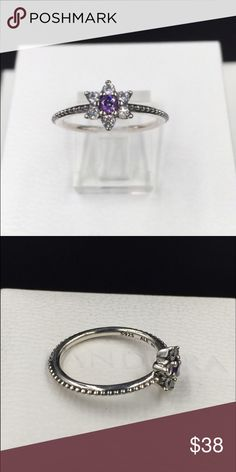 "Pandora Ring NWOT Pandora ""Forget Me Not"" ring, size 6 (52).  Properly hallmarked S925 ALE. Pandora box not available. No trades or off Poshmark transactions. Thanks and happy Poshing!! Pandora Jewelry Rings"