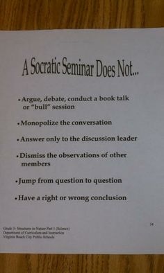 socratic seminar | Socratic Seminar does not...