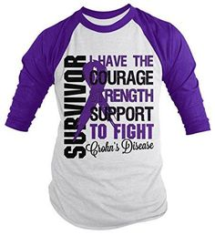 Shirts By Sarah Men's Crohn's Disease Survivor Shirt 3/4 Sleeve Raglan Shirts Purple Ribbon