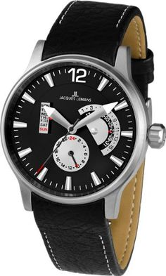 Jacques Lemans Men's 1-1741G Porto Sport Analog Black Leather Strap Watch. Quartz movement. Case diameter: 44 mm. Chronograph watch, black leather strap. Hardened crystex crystal. Water resistant to 330 feet (100 M): suitable for snorkeling, as well as swimming, but not diving.