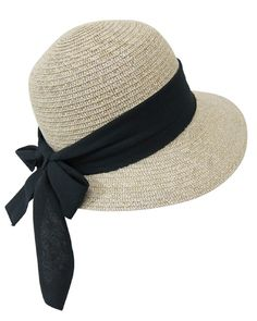 Straw Packable Sun Hat for Women - Wide Front Brim and Smaller Back - SPF 50 (Black Sash)