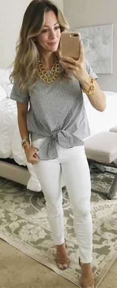 #summer #outfits I've Been In Tech Mode All Day, Setting Up A New Computer And Making Some Tweaks To My Blog That I'm Excited To Share Soon! ❣️I Found The Cutest Tie-front Striped Top (XSP). It's Hard To Tell From The Picture But It's Got A Lot Of Stretch, So It's Easy To Move In! Even With The Tie Front, It's Still Covers Your Tummy And Is A Little Longer In The Back.  Don't Be Surprised If You See Me In This Again Next Week With Jean Shorts!