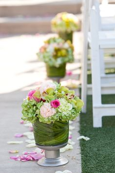 pink green ceremony decorations