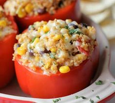 Loaded with protein, veggies and healthy grains, these stuffed bell peppers will provide the nutriti...