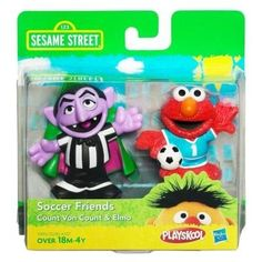 SESAME STREET PLAYSKOOL Soccer Friends Count Von Count & Elmo by Hasbro. $6.95. SESAME STREET PLAYSKOOL Soccer Friends Count Von Count & Elmo. These 2 figures are cute, collectible and the perfect size for little hands! Children can carry their favorite SESAME STREET friends, Count Von Count and Elmo, everywhere they go! Includes 2 figures. Ages over 18 months to 4 years. Sesame Street and associated characters, trademarks and design elements are owned and licensed by Se...