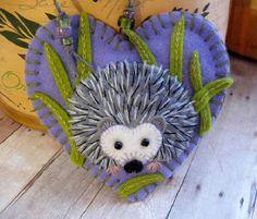 Hedgehog Ornament  Made to Order Embroidered Fiber by SandhraLee