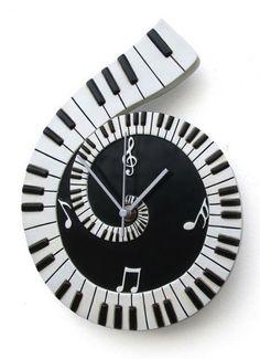 Piano keyboard clock montre de mur