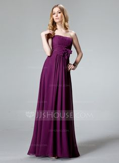 Bridesmaid Dresses - $115.99 - Empire Sweetheart Floor-Length Chiffon Bridesmaid Dress With Ruffle Flower(s) (007004311) http://jjshouse.com/Empire-Sweetheart-Floor-Length-Chiffon-Bridesmaid-Dress-With-Ruffle-Flower-S-007004311-g4311