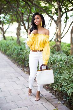 Rochelle Fletcher   Off The Shoulder  Miami Fashion Blogger   Pretty Yellow Things