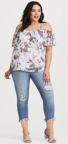 Plus Size Cold Shoulder Chiffon Blouse - Plus Size Fashion for Women #plussize
