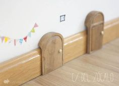 Fairy Doors on Baseboards Dentist Art, Diy For Kids, Crafts For Kids, Dental, House Colouring Pages, Tooth Box, Small Sculptures, Fairy Doors, Woodworking Projects Diy